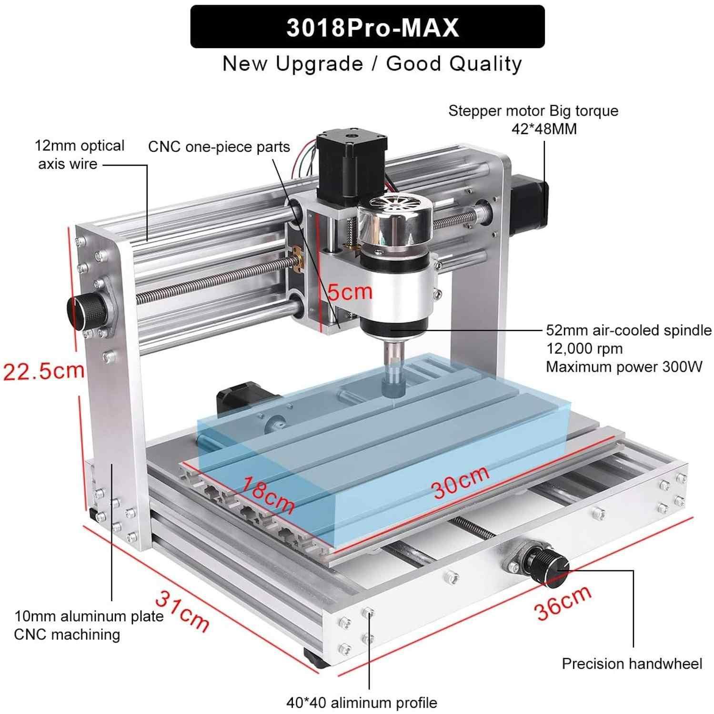 CNC CNC 3018 Pro Max Upgrade Version PCB Graviermaschine GRBL control de 3 ejes DIY madera Router con ER11 5 mm Verl/ängerungsstange artesan/ía Schneidwerkzeuge
