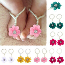 Infant Newborn Baby Girl Sandals Classic Pearl Chiffon Barefoot Toddler Slipper Foot Flower Beach Sandals for princess Baby girl(China)