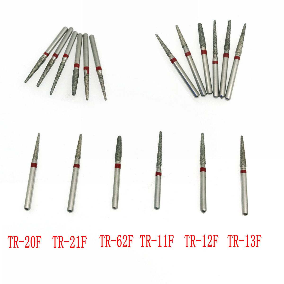 50Pcs Dental Diamond Burs Grit Red/Fine Fit High Speed Handpiece 1.6mm