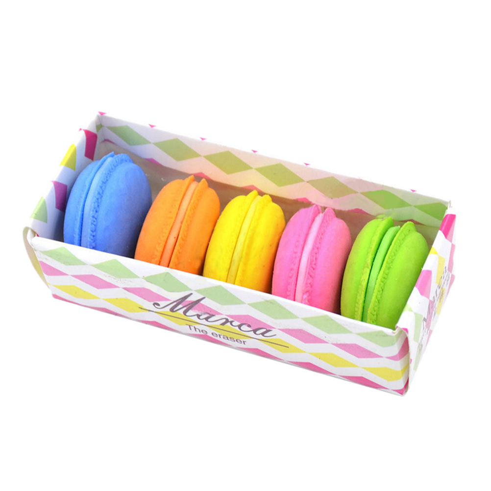 5 Pcs Cute Kawaii Rubber Eraser Colorful Cake Macaron Eraser For Kids Student Gift Stationery Supplies