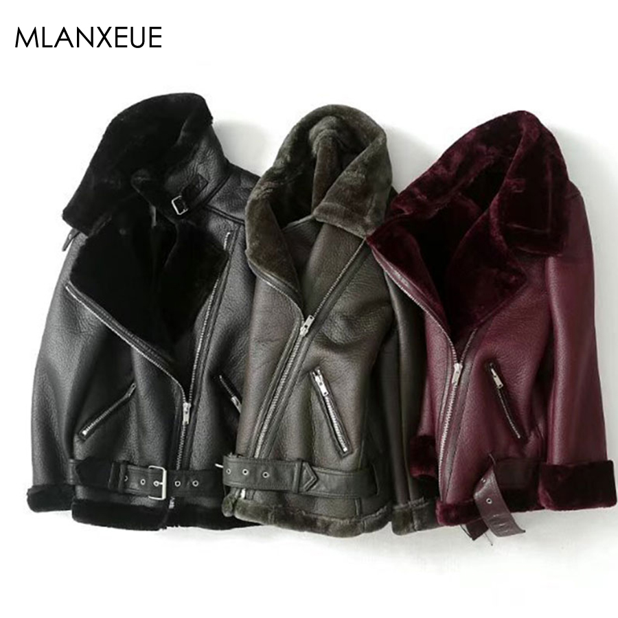 Winter Fur Collar   Leather   Jacket Women Thicken Warm Faux PU Biker Jackets Female Streetwear Zipper   Leather   Coats Jaqueta Couto