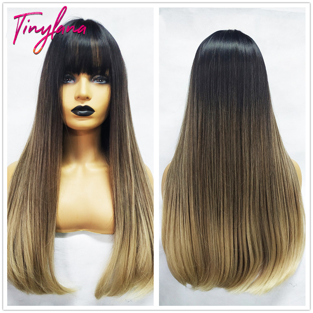 TINY LANA 24'' Long Straight  Wig With Bangs Synthetic Heat Resistant Hair Cosplay Wigs With Bangs Long Hair Harajuku