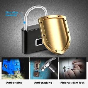 Image 5 - Towode 1pc intelligent USB rechargeable door lock fingerprint padlock for bag quick unlock fingerprint cabinet lock