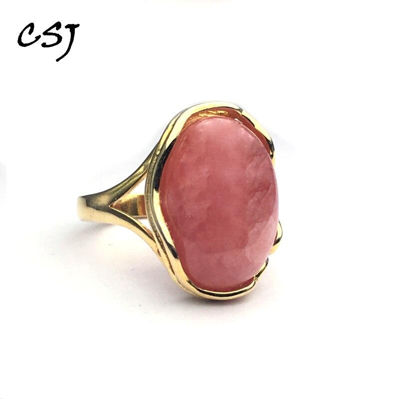 CSJ réel naturel Rhodochrosite anneaux 925 en argent sterling pierres précieuses naturelles Rhodonite anneaux pour les femmes fête cadeau