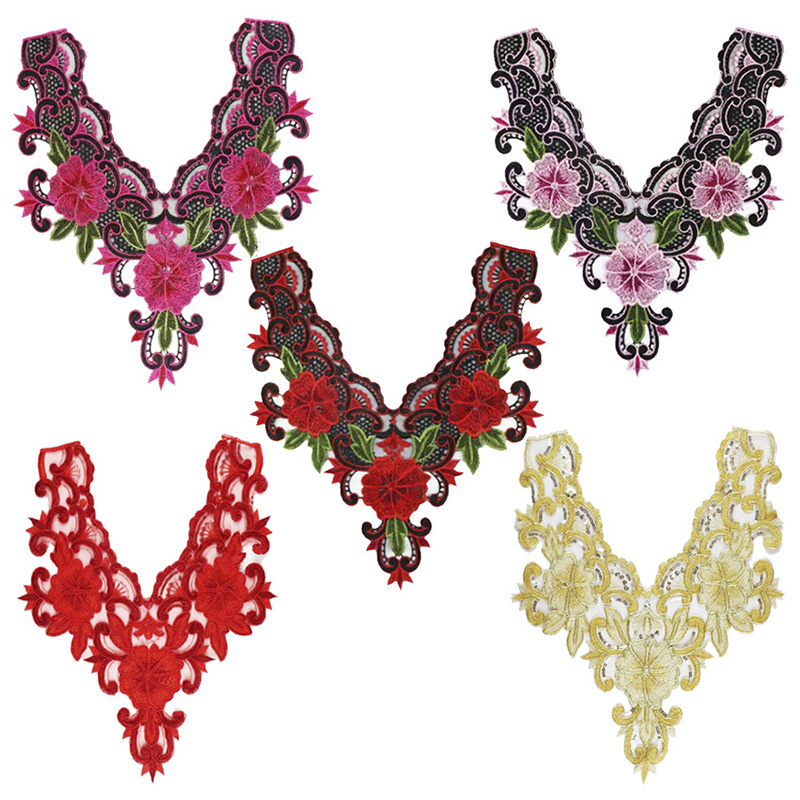 Floral Flower Lace Embroidered Neckline Neck Collar Trim Clothes Sewing  Water Soluble Mesh Accessories Applique Patch