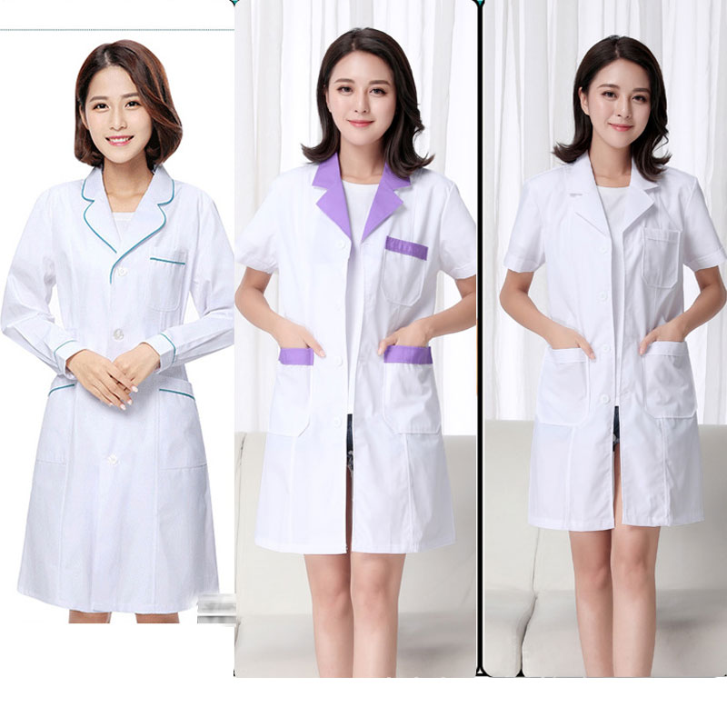 Uniforms Medical Clothes Nurse Lab Coat New Short Sleeve Summer White Lady Scrub WICCON Doctor Clothing Women Beauty Salon