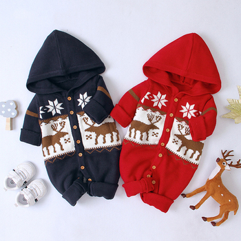 0-24M Christmas Newborn Kid Baby Boy Girl Clothes Winter Warm Knitted Sweater Long Sleeve Hooded Elk Romper Cute Xmas Outfit baby girl bodysuits winter warm newborn boys one piece jumpsuits cute rabbit knit long sleeve body suits with legs sunsuit 0 24m