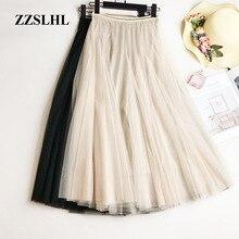 Summer Mesh Women Pleated Skirt Solid High Waist A Line Tulle Skirts