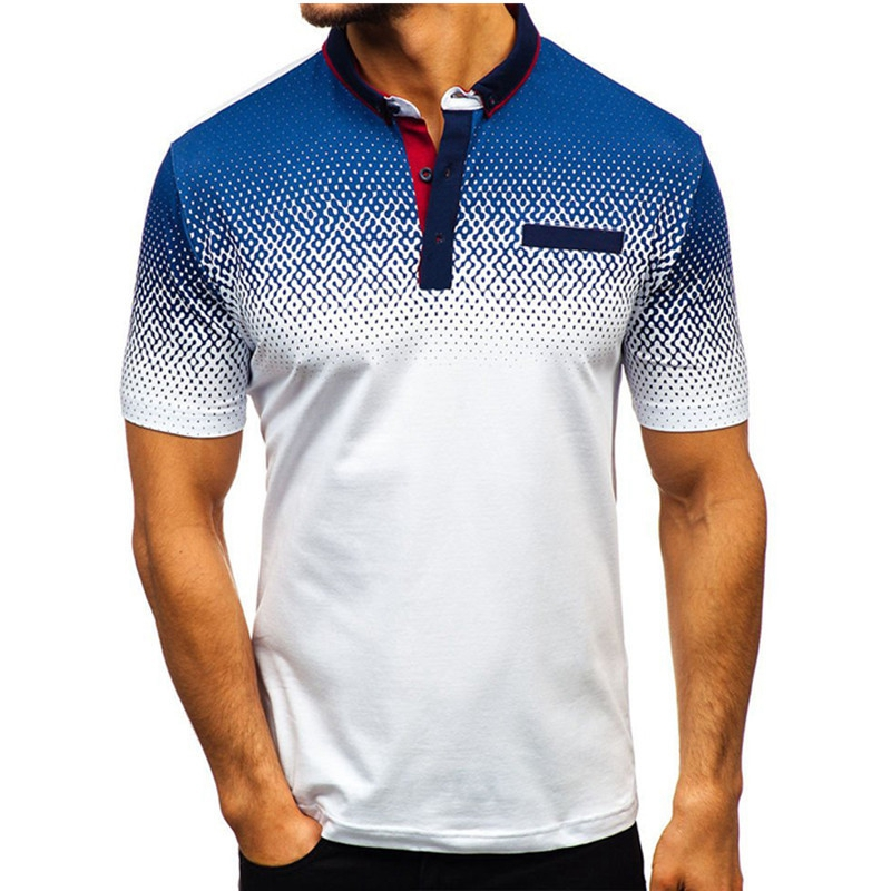 Dihope Men Polo Shirts Blue And White Gradient England Style Men Shirt Summer Polo Casual Loose Turn-down Collar Clothing