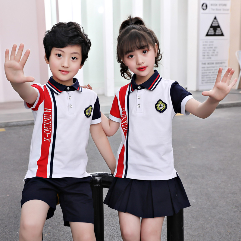 Young STUDENT'S School Uniform Polo Shirt Children School Uniform Customization Kindergarten Suit Summer Wear Children School Un