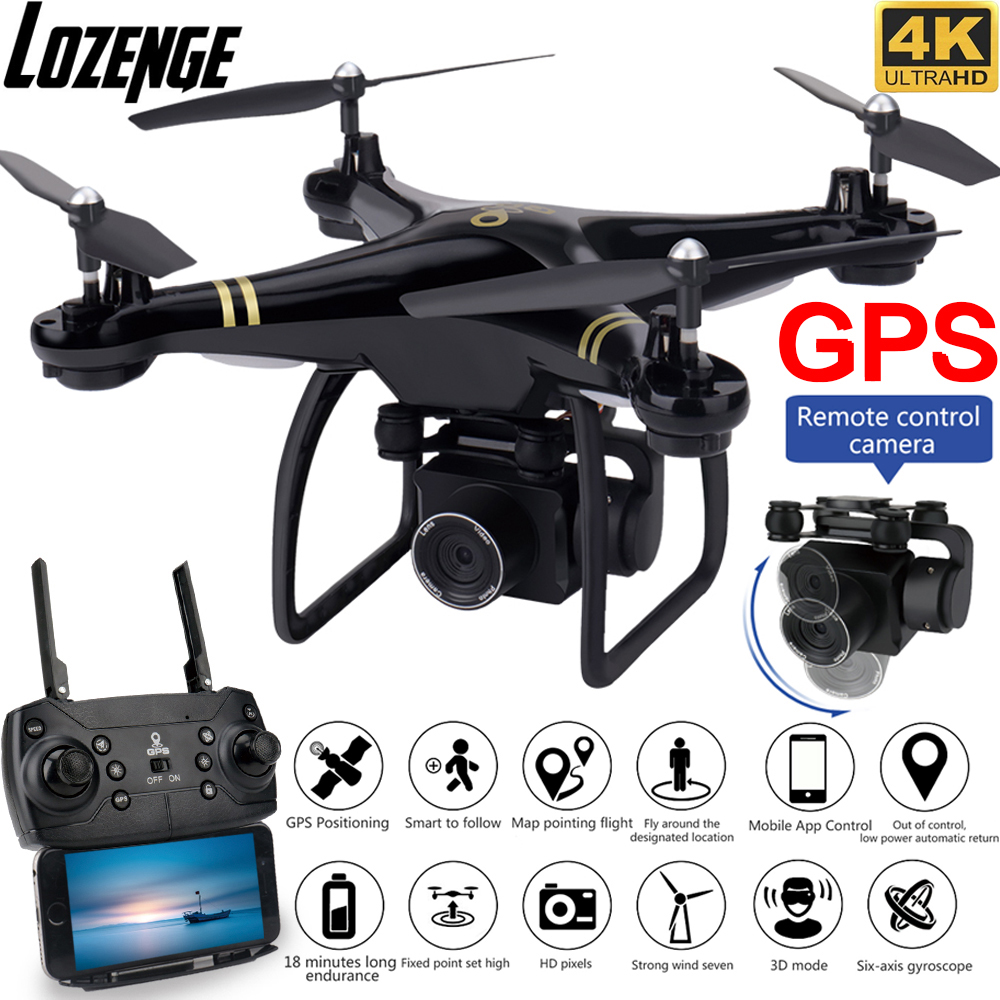 Lozenge GW168 GPS Drone with Camera 4K Follow Me Mode RC Drone Wifi Live Video Long Fly Time Quadcopter Remote Control Camera