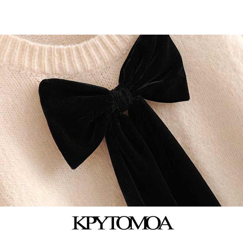 ヴィンテージ甘いショートスタイル蝶ネクタイニットセーターの女性 2020 ファッション O ネック長袖ストレッチ女性プルオーバーシックなトップス