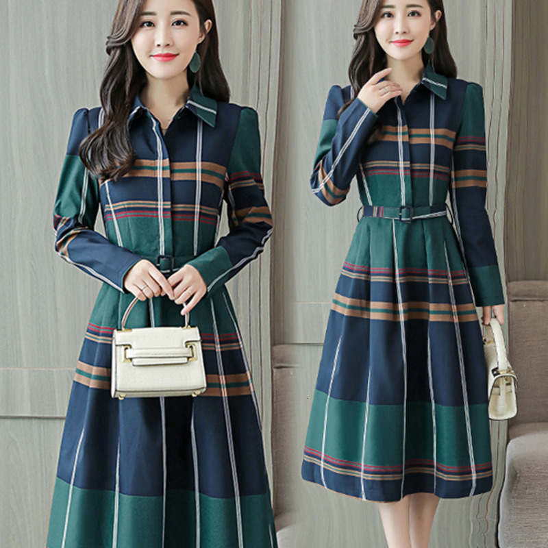 #2614 Spring Autumn Sashes A Line Casual Shirt Dress Women Long Sleevees Lapel Collar Striped Shirt Dresses Ladies Plus Size 3XL image