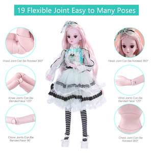 Image 5 - UCanaan 23.6 BJD SD Doll 19 Ball Joints Dolls with Clothes Outfit Shoes Wig Hair Makeup for Girls