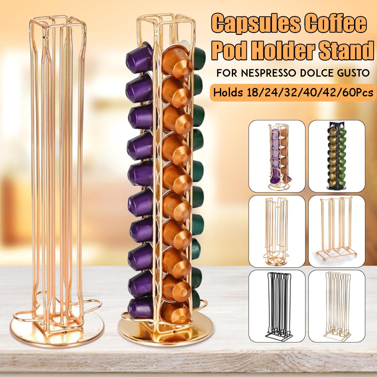 Practical Coffee Capsule Holder Tower Stand For 18/24/32/40/42/60 Capsules Storage Soporte Capsulas Nespresso Coffee Pod Holder