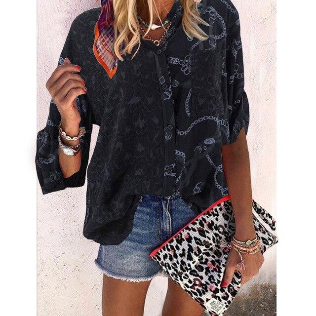 Plus size loose women blouse 2020 summer blouse shirts casual V-neck long sleeve leopard print women shirts 4