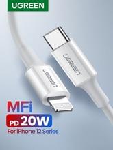 كابل USB من Ugreen MFi من النوع C إلى البرق لهواتف iPhone 12 Mini Pro Max 8 PD 18 وات 20 وات كابل بيانات سريع لشحن USB C لأجهزة Macbook Pro
