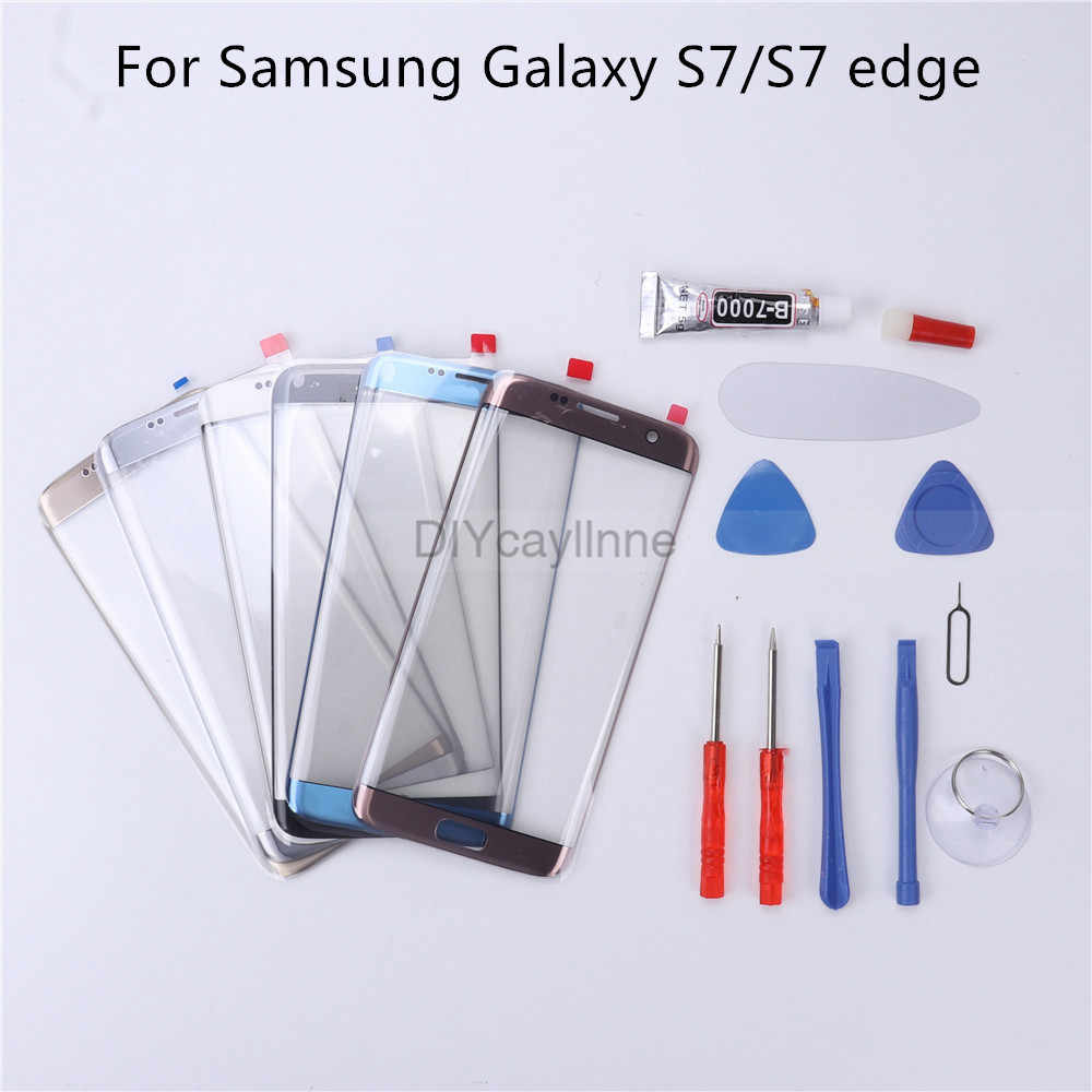 Nieuw Front Outer Glas Lens Cover Vervanging Voor Samsung Galaxy S7 Rand G935 S7 G930 Lcd Glas & B-7000 Lijm tool