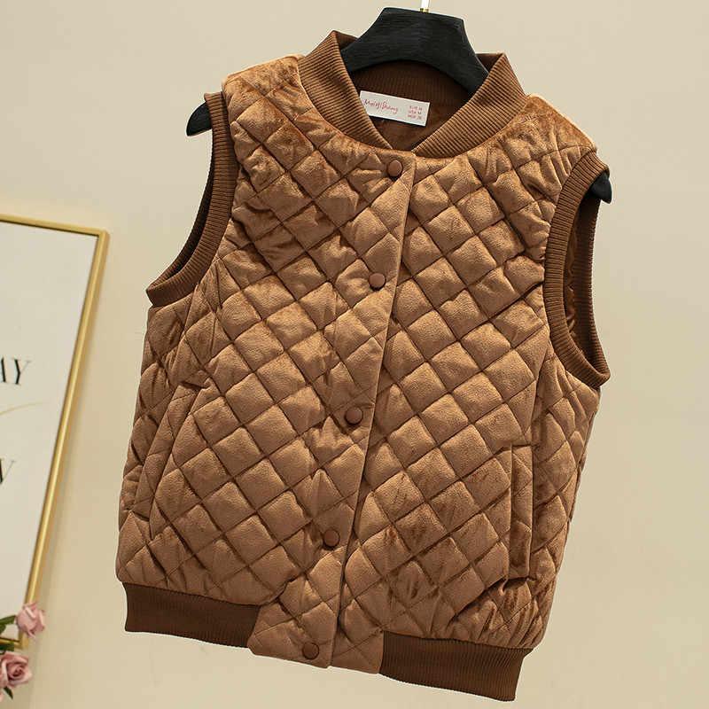 Neue Frauen Ärmelloses Samt Weste Jacke Herbst Winter Casual Warme Dicke Baumwolle Weste Parka Weibliche Kurze Weste Outwear AB1661