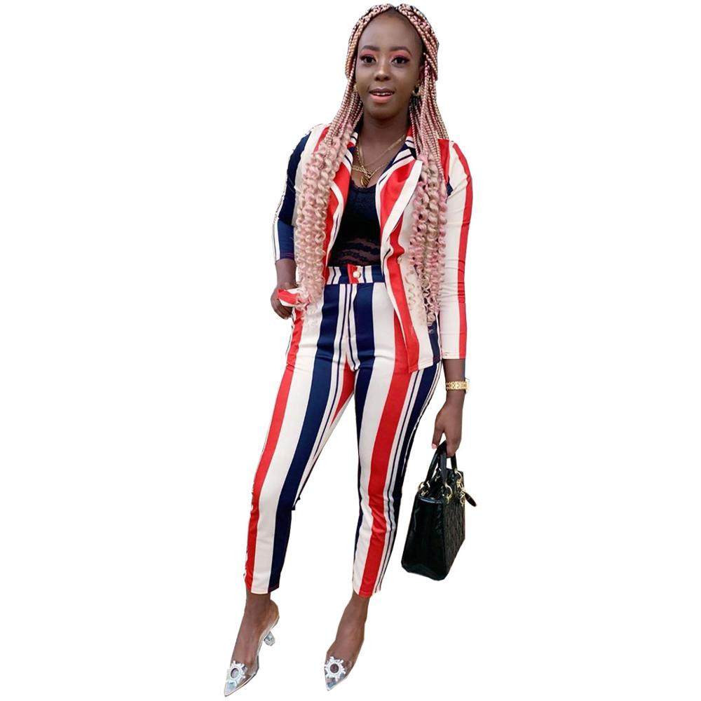 2020 New Spring  Women Sexy Classic Striped Full Sleeve Blazer Top Long Pencil Pants High Rise Leisure Ladies Suits 2 Piece Set