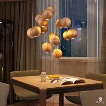 Europe Designer Wooden Hanging Lights Timber Ball Hanging Lamp G4 Pendant Lights Decorative Lighting Fixture Foyer Room Shop