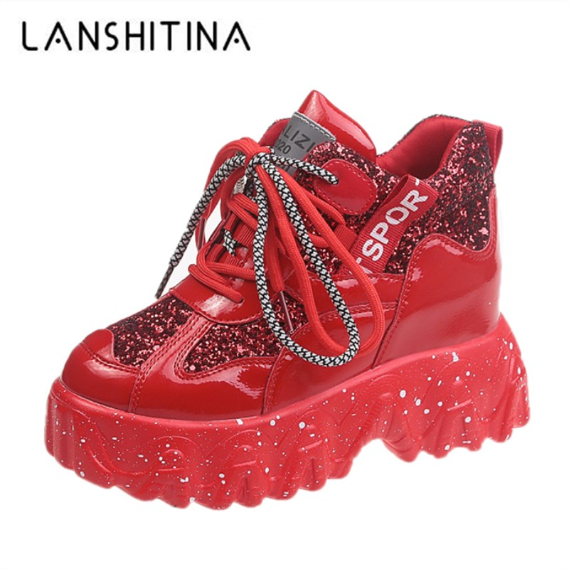 2020 Spring Women Chunky Sneakers Designer Dad Shoes Platform Shining Red Ladies Ulzzang Leather Shoes Breathable Casual Shoes