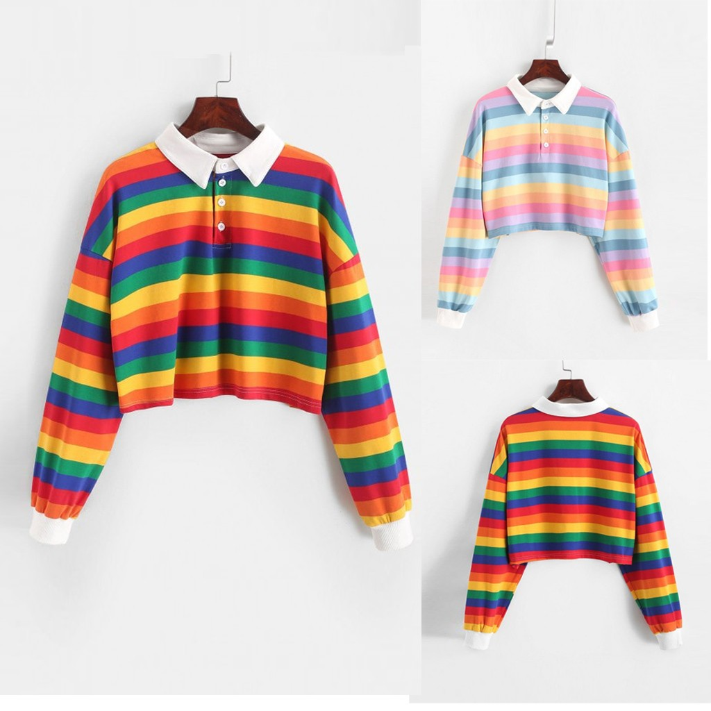 Contrast Striped Rainbow Half Button Crop Sweatshirt Short Polo Shirt Long Sleeve Women Shirts Autumn Pullovers Top Female N