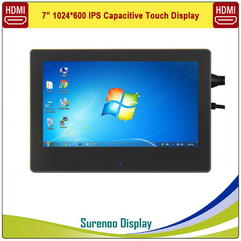 """7"""" 7.0 Inch 1024*600 HDMI IPS USB Capacitive Touch LCD Module Display Monitor Screen Panel with Enclosure for Raspberry Pi"""