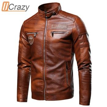Ucrazy Men 2020 Autumn New Brand Casual Motor Distressed Leather Jacket Coat Men Winter Vintage Outwear Faux Leather Jackets Men 1