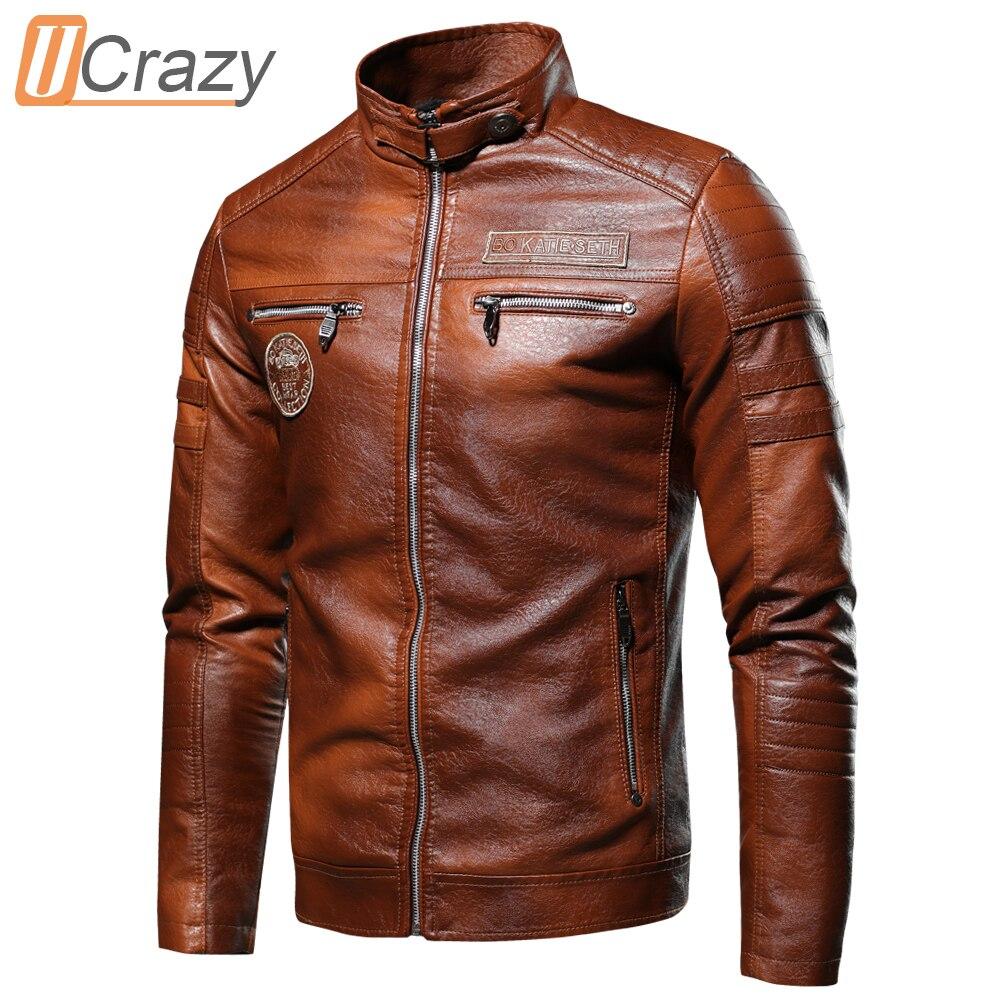 Ucrazy Men 2021 Autumn New Brand Casual Motor Distressed Leather Jacket Coat Men Winter Vintage Outwear Faux Leather Jackets Men