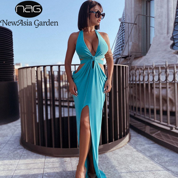 Newasia Summer Maxi Dress Women Sexy Halter Backless Hollow Out Knotted Draped Ruched Long Blue Beach Party Club Dress 2020 New american living new red poppy draped ruched women s 12 sheath dress $69 400