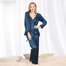 MS Sexy silk satin pajamas womens lace autumn and winter ladies plus size home service three-piece suitnew