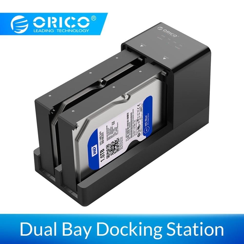 ORICO 2.5 3.5'' USB 3.0 To SATA Adapter HDD Enclosure With Clone Dual Bay Docking Station Hard Disk Drive Case Box Support 10TB