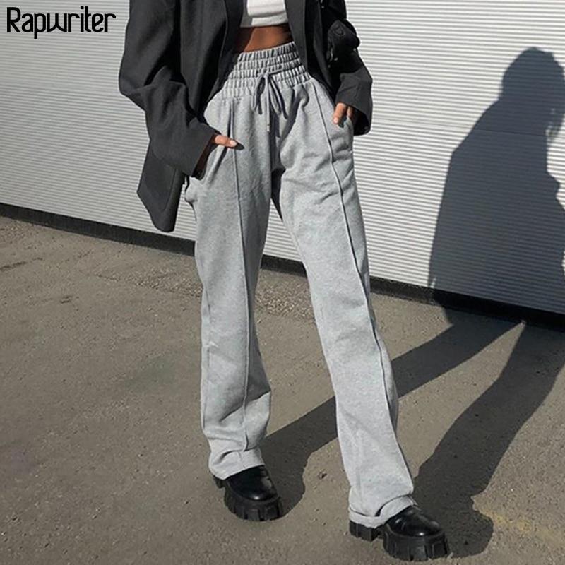 Rapwriter Casual Drawstring High Waist Pants Women 2020 Streetwear Straight Loose Trousers Gray Harajuku Pants Pantalon Femme