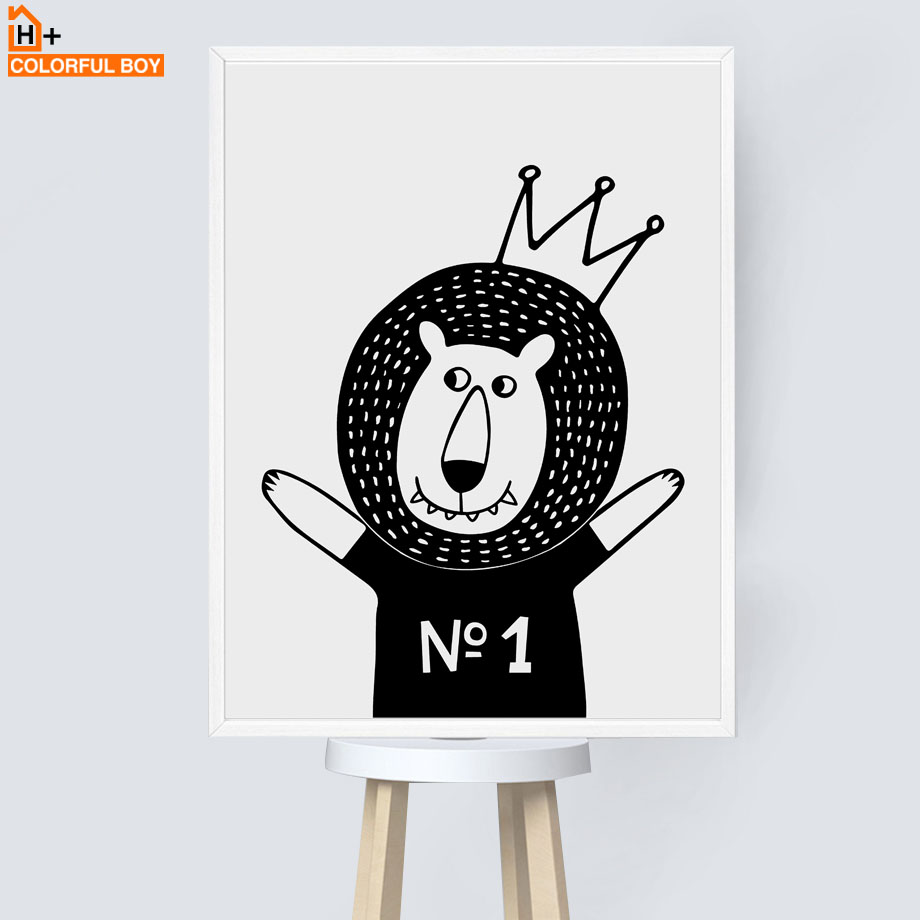 Cartoon Crown Lion Deer Sloth Nordic Canvas Posters And Prints Wall Art Print Painting Pictures For Kids Room Decor