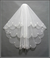Simple Short Tulle Wedding Veil with comb handmade beaded White Ivory Bridal Veil for Mariage Wedding Accessories