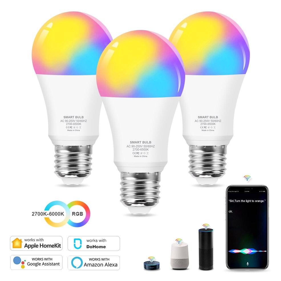 Умсветильник лампа с Wi-Fi, 12 Вт, E27, менясветильник цвет, RGB, CW, светодиодная лампа с регулируемой яркостью, совместима с Amazon Alexa / Google / Apple HomeKit
