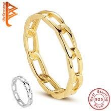 Belawang 100% 925 prata esterlina pave link anel simples estilo corrente anel com 18k banhado a ouro anel para festa de aniversário feminino presente