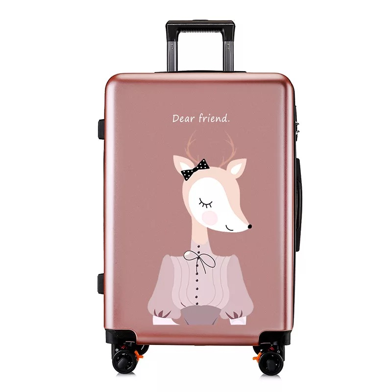 Rolling Luggage Student Suitcase On Wheels Travel Luggage 20'' Cartoon Cabin Carry Ons Trolley Luggage Korean Fashion Bag