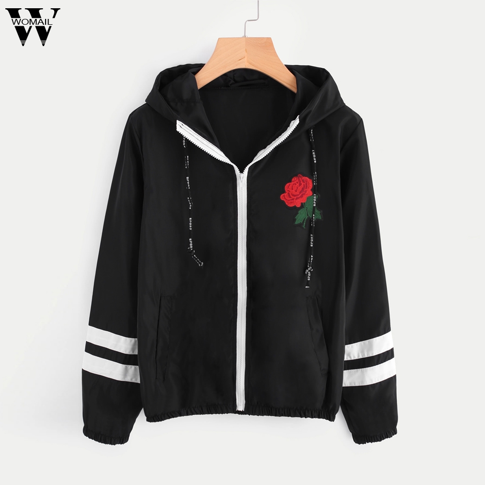 Womail Women   Jacket   Windbreaker Long Sleeve Rose print Bomber Thin with Pockets Hooded Fashion Sport   Basic     Jackets   Outwear