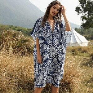 Кафтан с принтом для женщин, винтажная туника с коротким рукавом для пляжа и отдыха бикини в стиле бохо размера плюс