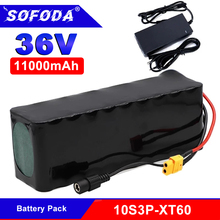 SOFODA 10S3P 36V 11Ah 18650 Rechargeable Battery Modified Bikes Electric Vehicle Battery li-lon + 36V 2A Charger