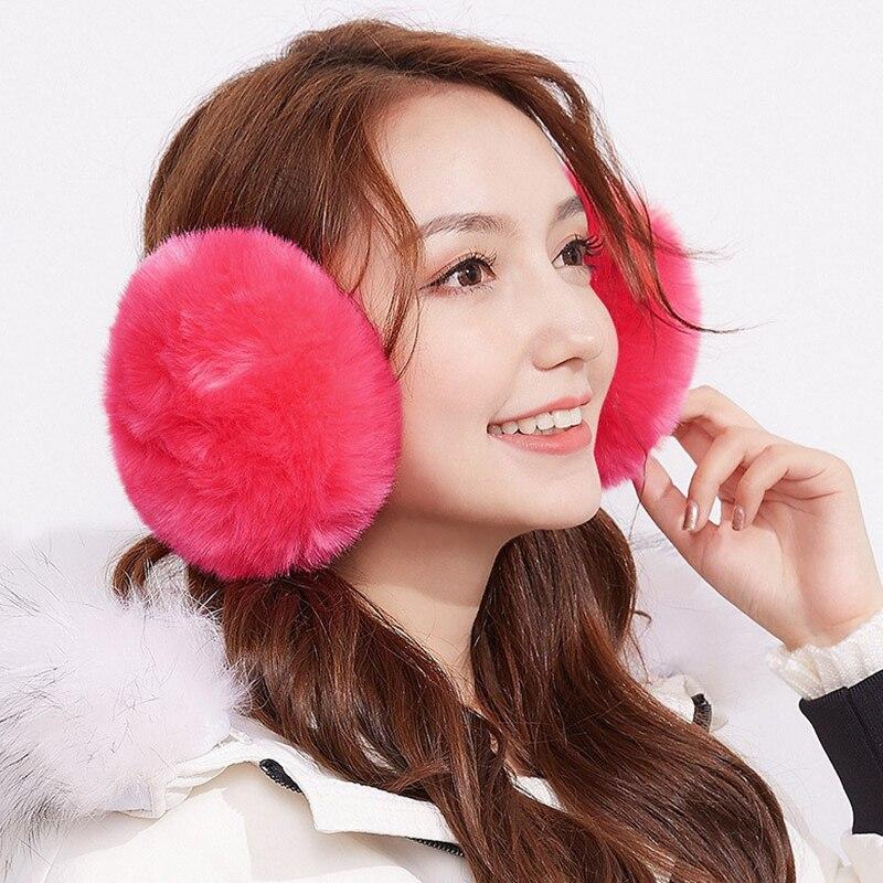 Ear Muffs Cute Faux Rabbit Fur Women Gift Earmuffs Keep Warm Fashional Plush Multifunctional Female Ear Cover Warmer Winter