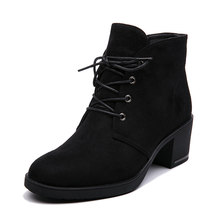New Spring Autumn Women Ankle Boots Suede Leather Short Booties Lace Up Boots Women With Fur Shoes 2018 New Arrivals(China)