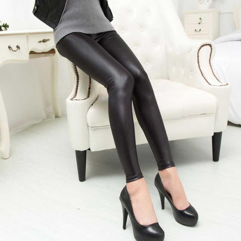 2020 Nieuwe Winter Warm Volledige Lange Broek Vrouwen Pu Leather Stretch Slim Potlood Broek Elasitc Broek Plus Size