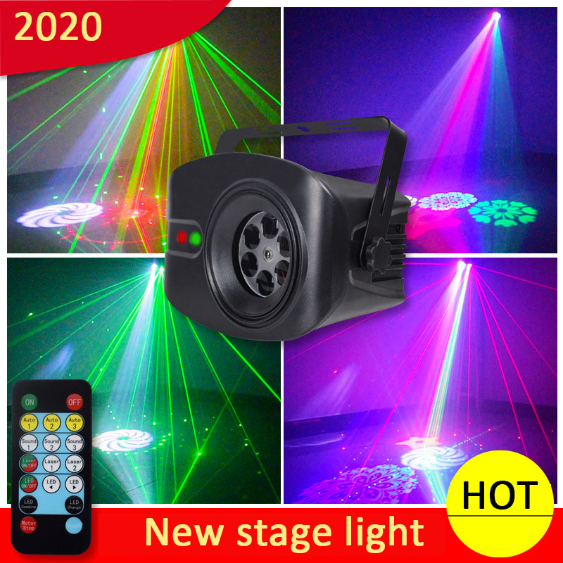 2020 RGB Disco Light Stage Lights Voice Control Music Laser Projector Lights 52 Modes RGB Effect Lamp For Bar KTV Home Party
