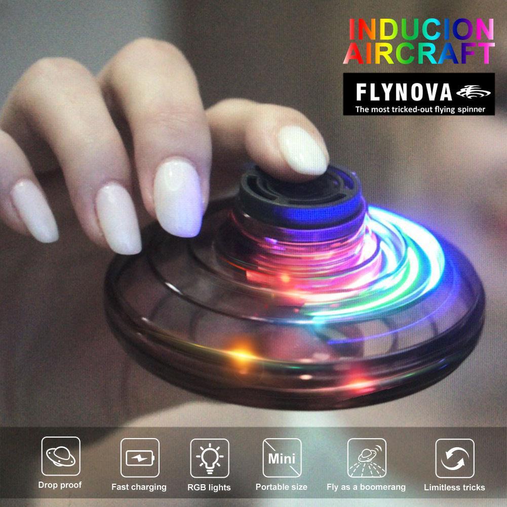 1/2Pcs Flynova Flying Spinner Saucer LED Drone Finger Games Anti-Stress Toy Interactive Flynova Flying Spinner Toys Gift For Kid
