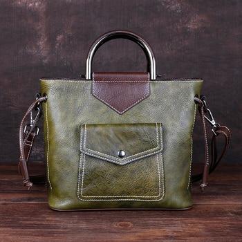 Cowhide Women Shoulder Crossbody Handbag Flag Briefcase Vintage Female Messenger Bags Multi-Function Genuine Leather Tote Bag