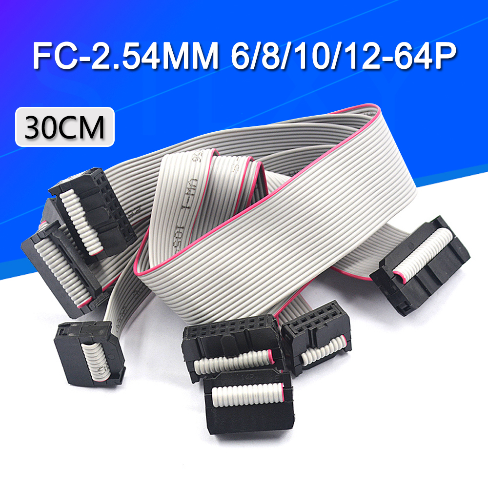 2PCS 2.54MM pitch FC-6/8/10/14/16/20/<font><b>40</b></font>/50 <font><b>PIN</b></font> 30CM JTAG ISP DOWNLOAD <font><b>CABLE</b></font> Gray <font><b>Flat</b></font> Ribbon Data <font><b>Cable</b></font> FOR DC3 IDC BOX HEADER image