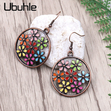 2020 Vintage Ethnic Antique Flower Oil Drip Hollow Round Drop Dangle Earrings for Women Boho Statement Party Jewelry Accessories 5 colors vintage drip glaze earring bohemian boho ethnic dangle drop earrings for women s 2020 fashion party jewelry accessories